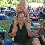 Summer fun: Warren Reed and daughter Patika of Cape Woolamai love the music.