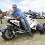 Kicking back: Doug Wheatley of Foster on board his Can-Am Spyder three-wheeled motorcycle, a 2010 model with 9000km on the odometer.