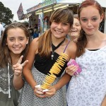 Fun for all: Kallie Apisai from Kilcunda, and Katie Olierook and Tayla Mills, both from Wonthaggi, enjoyed a day out with friends at the show.