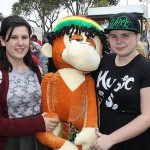 Winners: Zoe Smith from Eltham and Amy Thompson from Heidelberg won big with their monkey friend on one of the games at the show.