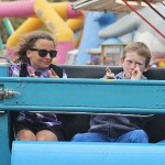 Riding in style: Phoebe Milnes and Brody Yann, both from Wonthaggi, looked very cool on the Cha-Cha ride.