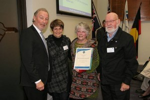 •mayor Cr Kieran Kennedy and Gail Young (second from left),  Anita Booth and John Classon from Tarwin Lower Mechanics Institute.