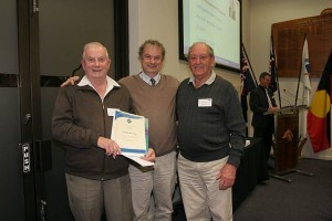 •Cr Don Hill (centre) and Eric Hill (Cr Hill's father, left) and Max Wood of Leongatha Men's Shed.