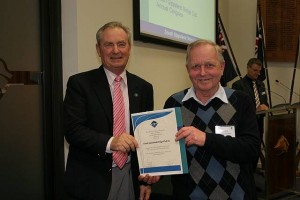 •Cr Nigel Hutchinson-Brooks with South Gippsland Bridge Club's Clive Hope.