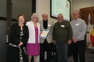 •Cr Jeanette Harding with Friends of Agnes Falls, from left, Kathy Whelan, Peter Lee, Mark Turner and Bruce Beatson.