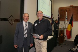 •Cr Bob Newton and Brett Hume, Nyora Recreation Reserve.
