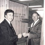 Starting out: Ken Smith on his first day as a Victorian MP, entering the office vacated by a retiring Roy Ward.