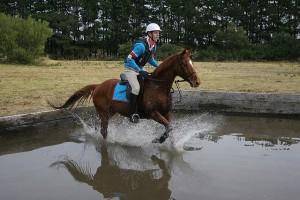 Holding on: Logan West of Wonthaggi Pony Club show poise during the cross country.