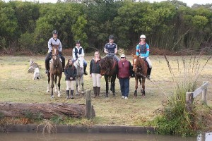 Skilled riders: fresh after riding the cross country course, were from left, Emma Dutchman, Annie Winchester, Coby Elmore, Alex O'Sullivan, Julia Green, instructor Bev Shandley and Logan West.