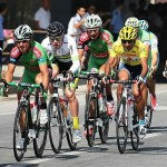 On the track: Stu Smith, third from left, in the final stage of the Chinese Tour of Qinghai Lake.