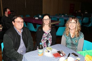 Good group: Tony and Therese Corbett and Jo McDonald made the trip from Traralgon to watch one of Australia's favourite performers at Memorial Hall in Leongatha last week.