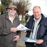 Vote 1: Ken Bartlett of Leongatha discusses policies with Member for McMillan Russell Broadbent in Leongatha on Saturday. The popular Coalition politician retained his seat with a comfortable win.