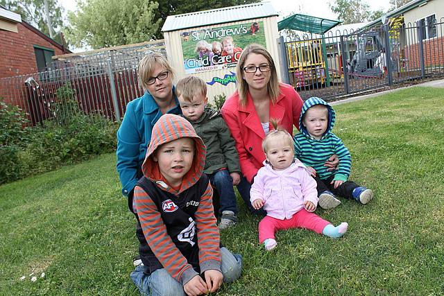 Not fair: Sophie Visser and her children Finn and Oscar, and Laurie Newman and her children Isla and Harry will be affected if there is no longer childcare in Mirboo North.