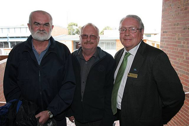 Linking region: from left, Max Semken and Brian Hess of the South and West Gippsland Transport Group, with South Gippsland Shire Councillor Andrew McEwen.
