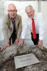 All open: AquaSure CEO Matthew Brassington joined Bass MLA Ken Smith in officially opening the Wonthaggi Desalination Plant Ecological Reserve. Photo: Foons Photographics.