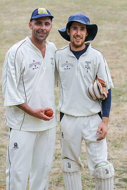 Six pack: Matt Boswell (left) took six wickets, and keeper Leo Enter took six catches for Koowarra/Leongatha RSL B Grade on Saturday. Photo by Mark Drury.