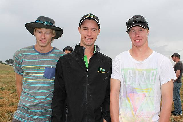 Young locals: Tristan Zuidema, Callum Moscript and Shane Zuidema from Leongatha South were learning a thing or two at the Notman Pasture Seeds field day last Wednesday.