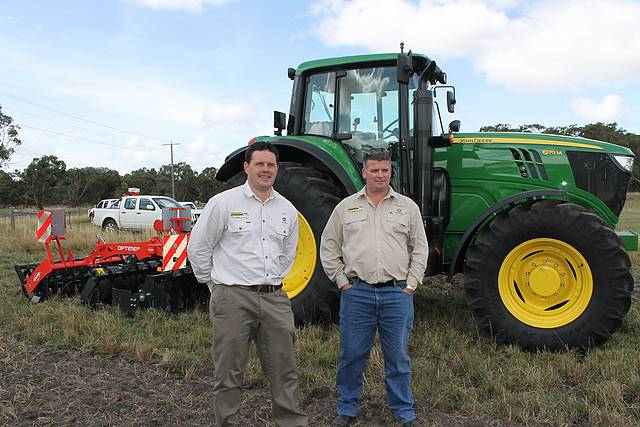 Top tractors: Glen Vernon (left) and Travers Scott from Windmill Ag in Leongatha South at the ride and drive day held at Stony Creek last Wednesday.