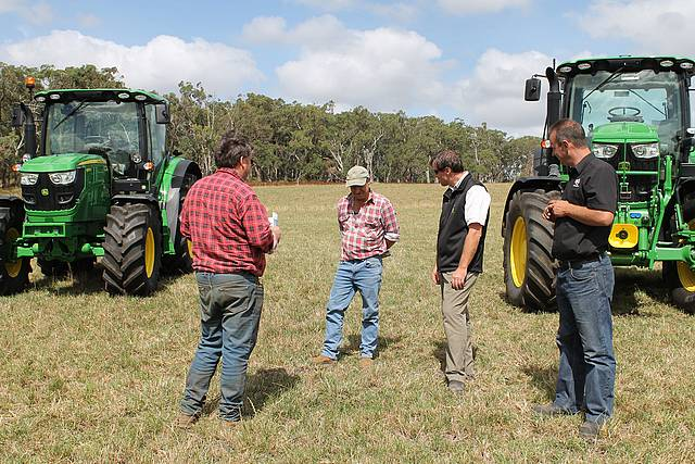 Tractor talk: David Blackshaw and David Hotchkin from Thorpdale talk tractors with Windmill Ag's Mark Le Page and Kuhn's Andrew Snape last Wednesday.