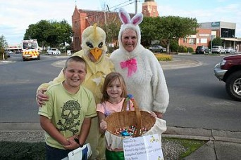 Easter Bunny: from left, Tom Pearson, Nola Sneddon, Bella Pearson and Val Pistrucci spread Easter eggs and hugs in Leongatha.