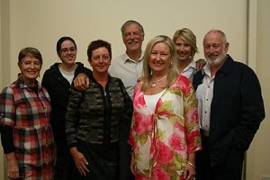 The cast: director Bernadette Grainger (left) presents the Life after George cast Maddie Cantwell, Kaz Hughes, Bruce Grainger, Kerry Giles, Julie Strini and David Baggallay.