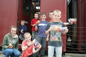 Plenty of chocolate: Emily, Bill, Luke, DJ, Jack, Max and Tom Smith had lots of goodies to take home from Coal Creek.