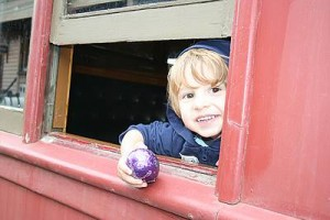 Yum: Matthew Cross was all set with a chocolate egg as he explored Coal Creek.
