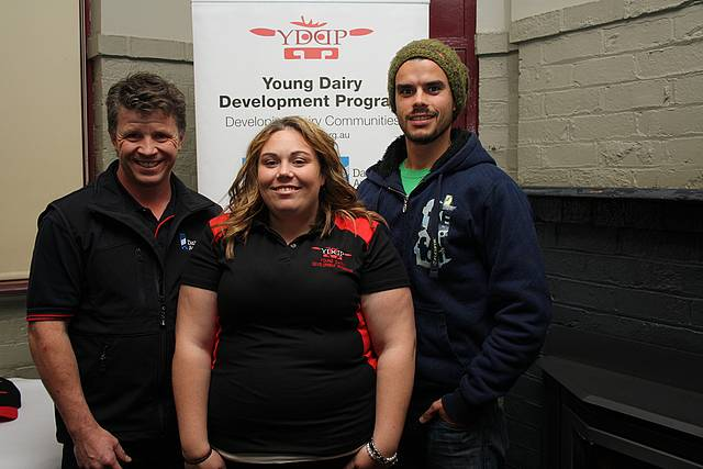 Sharing knowledge: guest speaker Dr Jamie McNeil from Korumburra Veterinary Clinic, with Young Dairy Development Program Gippsland co-ordinator Penny Cooper and YDDP South Gippsland committee member Luke Cockman at the Meeniyan Heifer night.