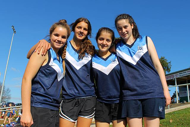 Gearing up: from left, Korumburra Secondary College girls Shannon Heylen, Deanna Chiavaroli, Hayley Davies and Courtney Clark were getting ready to take on Wonthaggi in their first game.