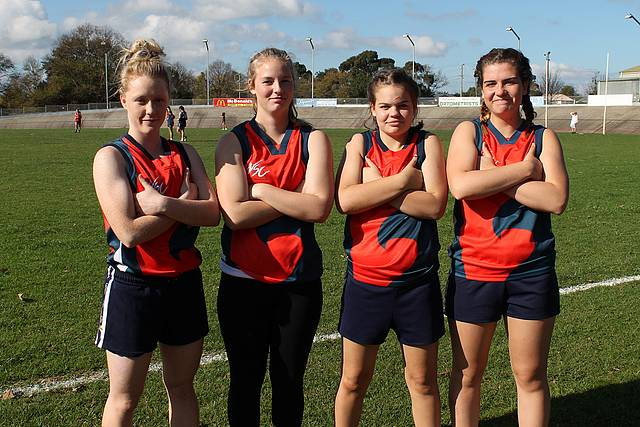 Winners: Wonthaggi Secondary College senior team members Alesha Kelly, Leah Joyce, Brittni Shell and Elise Desantis were celebrating their tough win over Mirboo North.