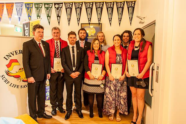 Eagles: from left, Chris Malan, Rob O'Neill, Nick Leman, Jake Lurati, Angela Malan, Luke Foster, Tarryn Thom, Nat Jowett and Teagan Thom. New inductees to the exclusive group, wearing orange vests and bearing their certificates were joined by existing Eagles.