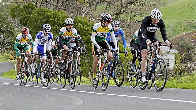 Mt Misery: Leongatha Cycling Club senior riders in Saturday's hill-climb event at Outtrim.