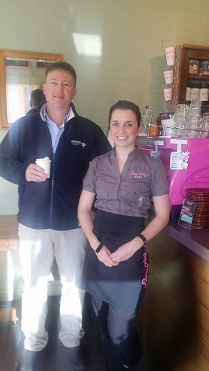 Leading the way: Gippsland Community Leadership Program participants Peter Fort from Burra Foods and Lucy Mertens from Lucy May's cafe chat about the program.
