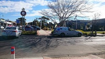 At the scene: police were called to the Inverloch Community Hub after a man climbed onto the roof following a police pursuit.
