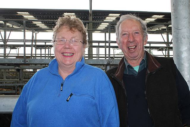 Wallet out: Desma and Colin Kent came all the way from Warragul to the store sale at Koonwarra last Thursday to buy cattle.