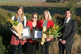 Sporting greats: from left, Commonwealth Games gold medallist Eleanor Patterson, South Gippsland Shire Council acting mayor Cr Jeanette Harding, 1500m runner Kaila Hutchinson and acting council CEO Anthony Seabrook at the reception for the athletes last Wednesday.