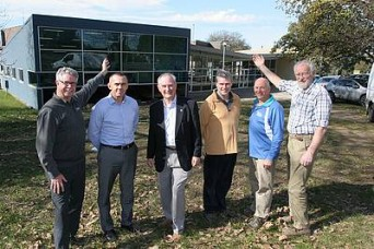 Mesley Hall stakeholders: from left, Leongatha Secondary College assistant principal Greg Ellt and principal Wayne Chester, South Gippsland Shire Councillor Nigel Hutchinson-Brooks, and Lyric Theatre's Peter McAlpine, Neil Warren and Peter Western all have an interest in the fate of Mesley Hall, Leongatha.
