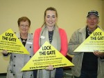 Active Korumburra: Victorian Lock the Gate coordinator and group facilitator Ursula Alquier (centre), Poowong Group's Robyn Callaghan (left) and Ray Boys helped start Korumburra's anti-coal seam gas group on Wednesday.