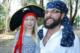 Argh!: Leongatha's Elana and Justin Abicare showed their best pirate faces at Coal Creek on Sunday.
