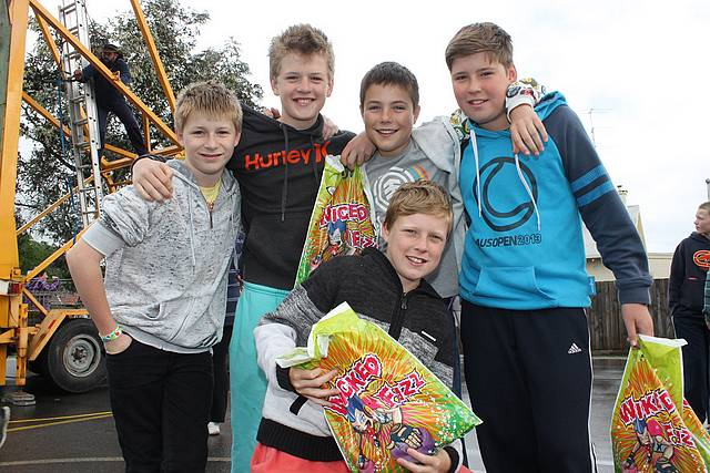 Showbags: Mitchell Scrimshaw, Jake Wilson, Izak Kennedy, Connor Krohn and (front) Will Littlejohn enjoyed the spoils at the St Laurence's Primary School Fete last year.