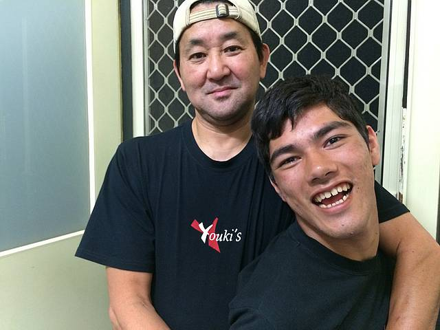 Friendly faces: from left, sushi chef Shin Nagashima and nephew Youki Innes are excited by the opening of the new sushi shop in Leongatha.