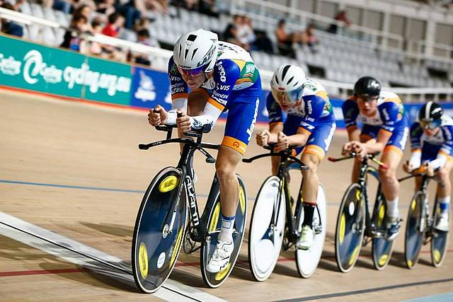 Bronze: Thomas McFarlane returned from the Oceania Championships in Adelaide with two bronze medals. Here he leads the team pursuit team.