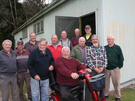 Meeniyan Men's Shed: at their new venue, the former Scout hall at the Meeniyan Recreation Reserve, members of Meeniyan and District RSL Men's Shed from left, Neville Meikle, Mick Scott and Phil Zukovskis, all of Meeniyan, Lindsay Harrison of Dumbalk, Doug Kuhne, Kevin Robinson, Graham Roberts and Peter Hill, all of Meeniyan, David Gillett of Dumbalk, and Dudley Harrison, John Hattam and Reg Hannay, all of Meeniyan.