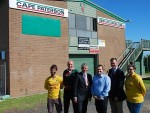 Funding: Darcy Manks, Francis Brennan, Liberal candidate for Bass Brian Paynter, Dean Manns, Eastern Region Victoria MP Ed O'Donohue and Laurie Aitken hope to see a re-elected Napthine Government to secure a $1 million grant to update the Cape Paterson Surf Life Saving Club facility.