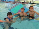Pools on top: from left, Tex Dyson from Toora, Royce Lemchens from Foster and Django Dyson from Toora enjoyed their swim at the Toora Pool last week.