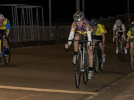 Velodrome action: the re-handicap event saw a win to Jack Allen (45) from a fast finishing Oliver Mclean (Scr). Kaleb Jans (30) also finished well to grab third place.