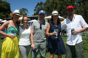 Day out: from left, Nicole Jones, Hayley Jackson, Shaey Blair, Marcus Thompson and Stephanie Graham were out enjoying the sun at the Stony Creek races on Saturday.