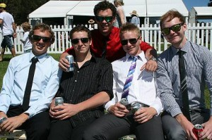 All dressed up: from left, the boys were well represented at the Stony Creek races on Saturday with Leongatha's Will Dutton, Shaun Taggart, Luke Minns, Toby Goss and Kyle Standfield suited up for the occasion.