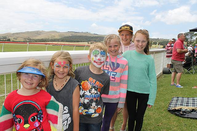Kids day out: from front, Tassie Mills, Taylah Innes, Lachlan Trigt, Tylah Mills, Lauren Trigt and Courtney Innes had a great day watching the horses race at Woolamai on Saturday.