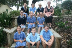 Leadership team: pictured with Chairo Christian School principal Lisa Dumicich (back, far right) are the new school leaders, back, from left, Emily Chalmers, captain Timothy Piening, Justin Hibma; middle, from left, Kaitlyn Gale, Rachel Chalmers, Jessica Gunia; front, from left, Natasha Hibma, Joey McNeil and Bryn Lilley.